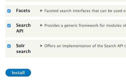 Install Facets, Search API, and Solr Search modules in Drupal 8