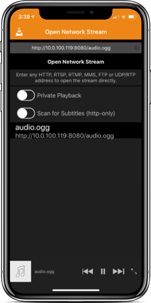 iPhone iOS VLC client opening audio stream