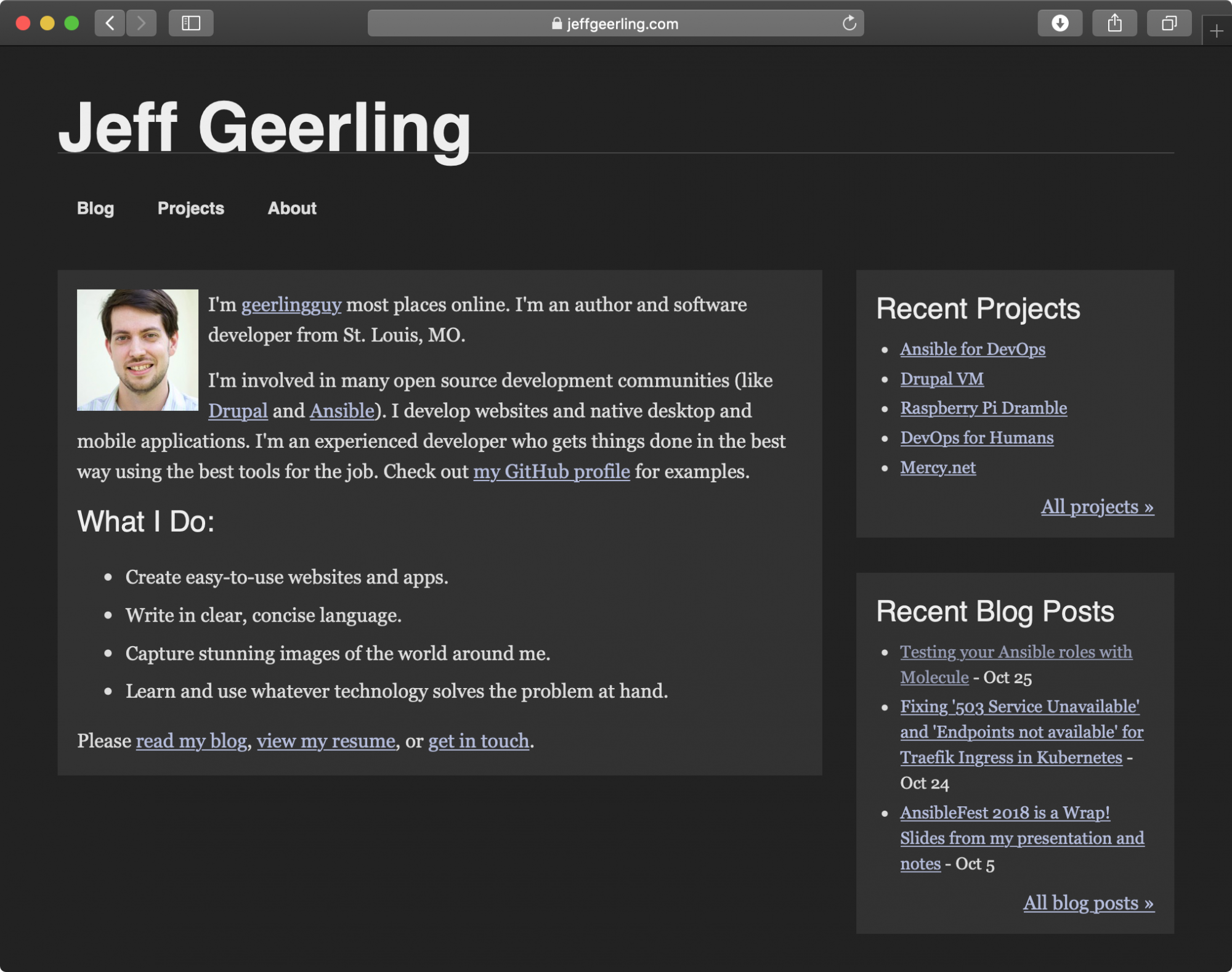 Jeff Geerling.com in dark mode on macOS Mojave