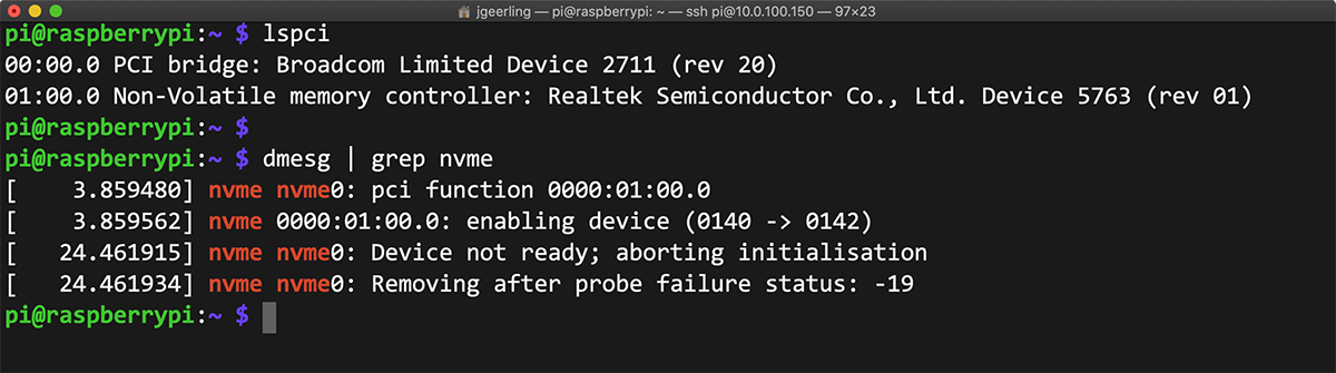 dmesg error output for Realtek NVMe drive on Compute Module 4