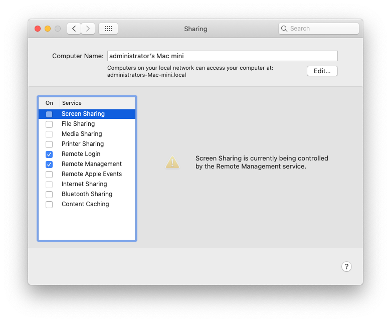 Mac mini remote management and screen sharing preferences