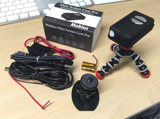 Mobius Action Cam kit with mount, super capacitor, 12v car power, and mini stand