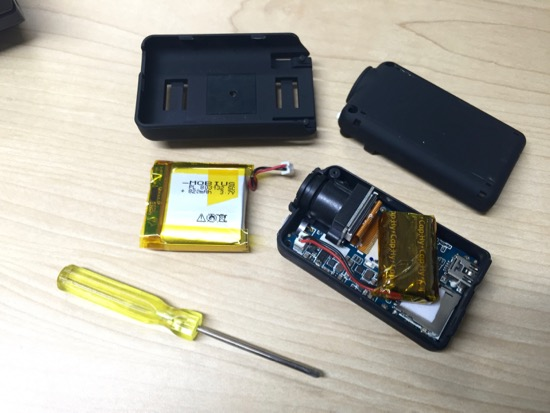 Mobius Action Cam taken apart to replace battery with super capacitor