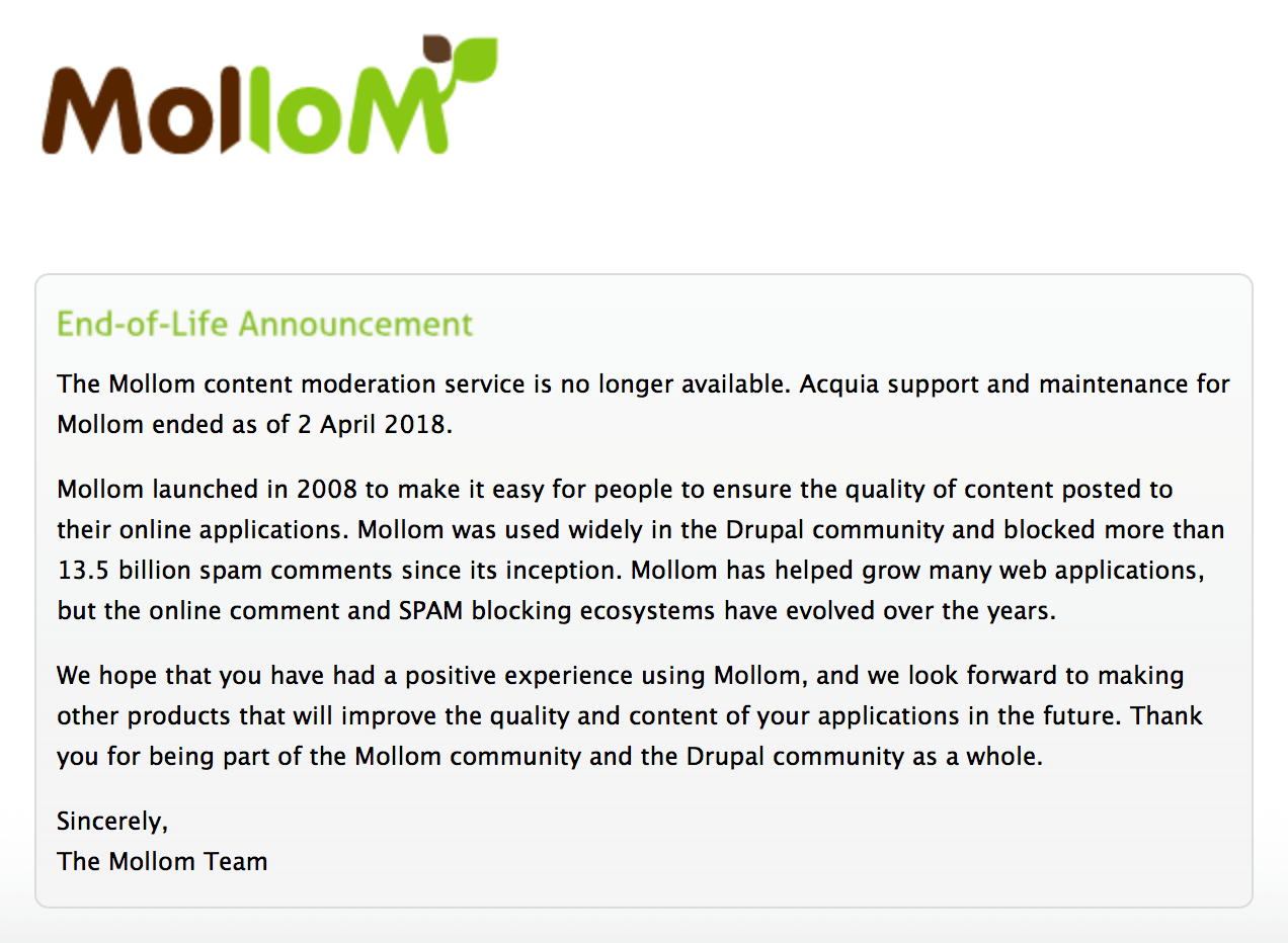 Mollom End of Life Announcement from their homepage