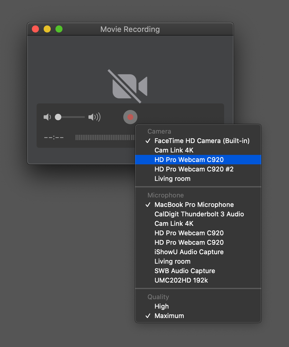 Movie recording interface QuickTime Player