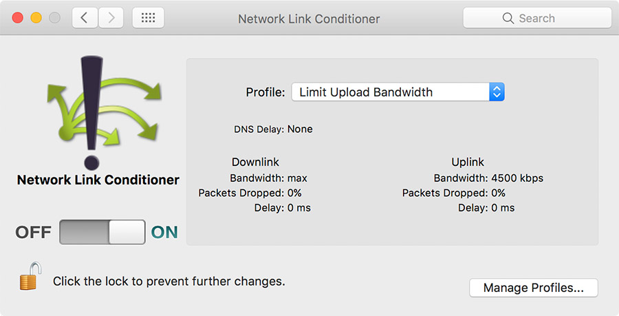 Network Link Conditioner Preference Pane - Save upload bandwidth