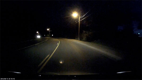 Night driving screenshot from Mobius Action Cam