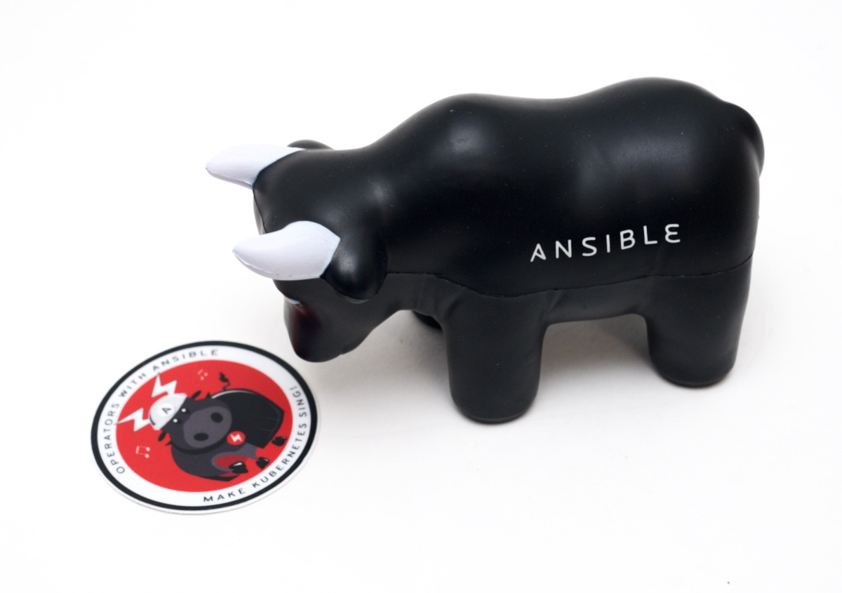 Opera-bull with Ansible bull looking on