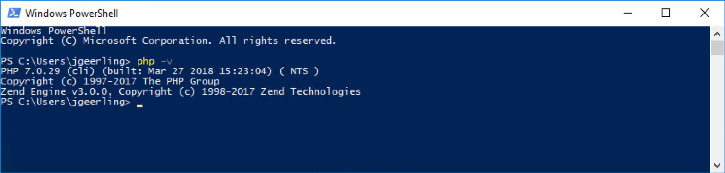PHP 7 running in Windows 10 in PowerShell