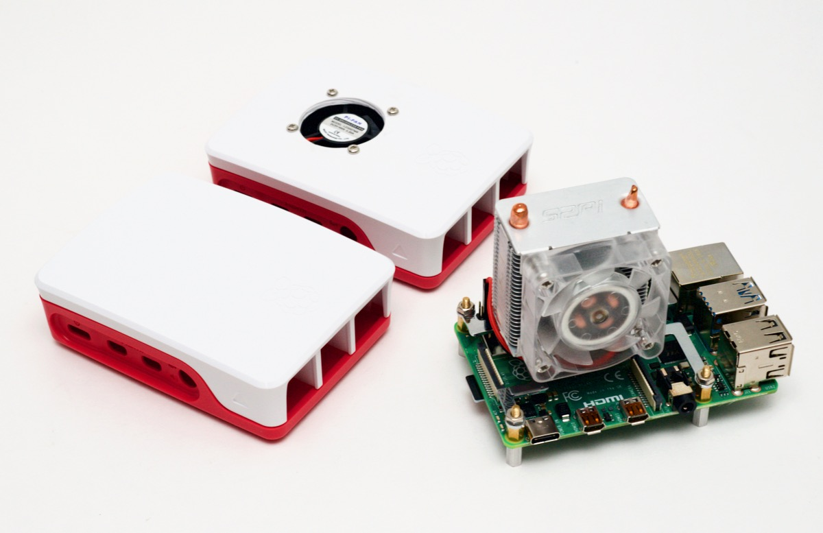 Raspberry Pi 4 cooling options including ICE tower cooling fan and a case mod fan