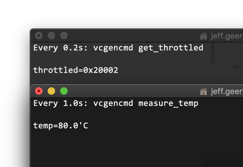Raspberry Pi 4 throttling CPU at 80 degrees celsius measured using vcgencmd