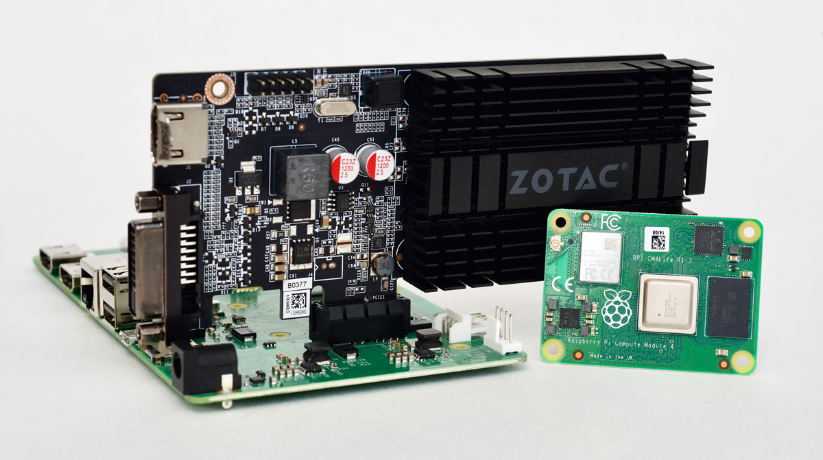 Raspberry Pi Compute Module 4 with Zotac Nvidia GeForce GT 710 GPU