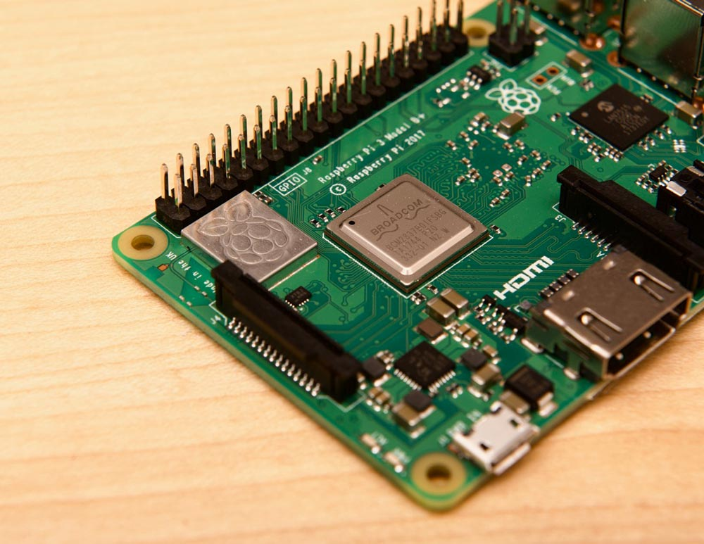 Raspberry Pi model 3 B+ top detail Raspberry Pi logo embossed metal