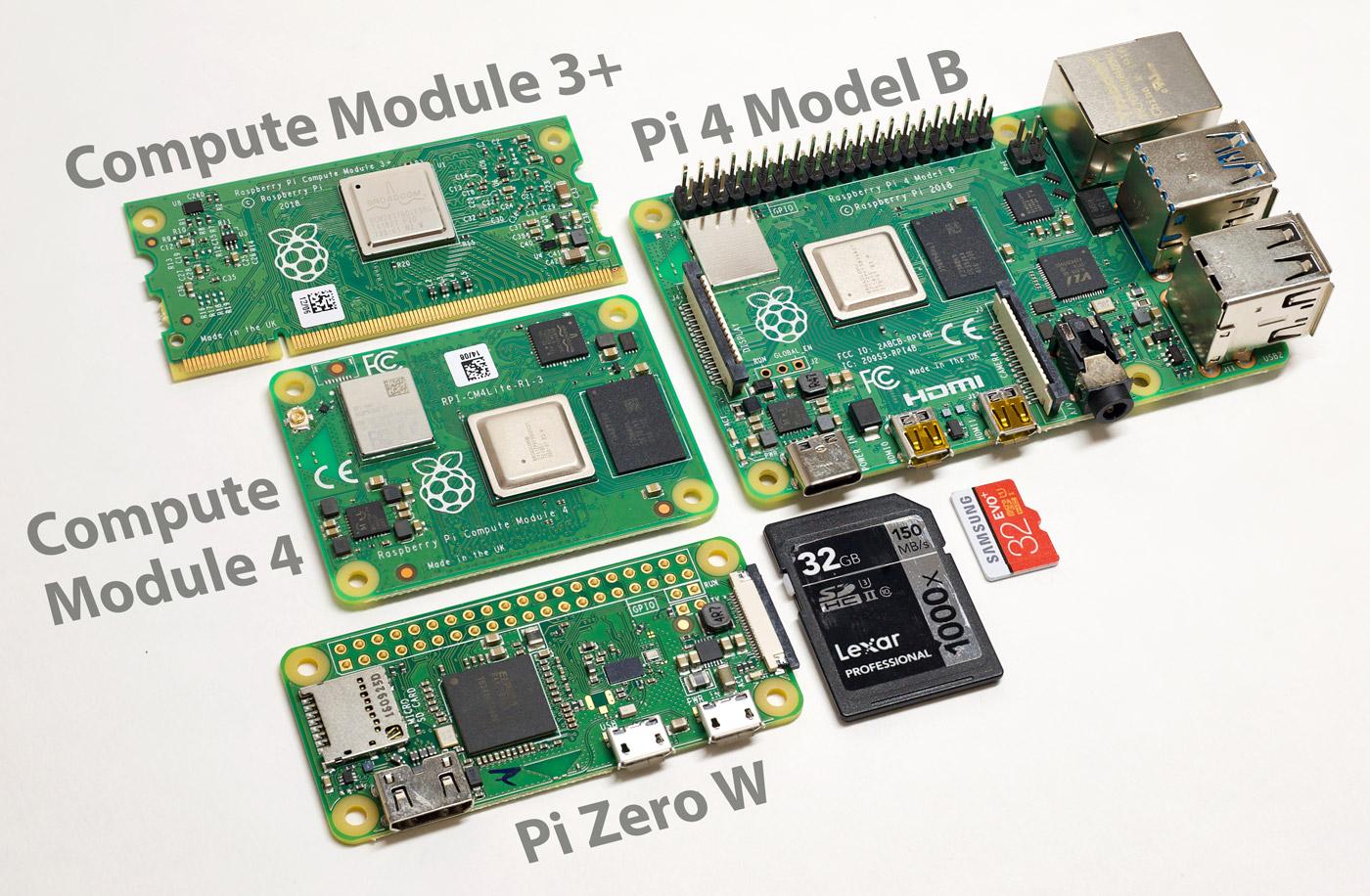 Raspberry Pi Compute Module 4 size comparison with Zero W, 4 model B, 3+, and microSD card