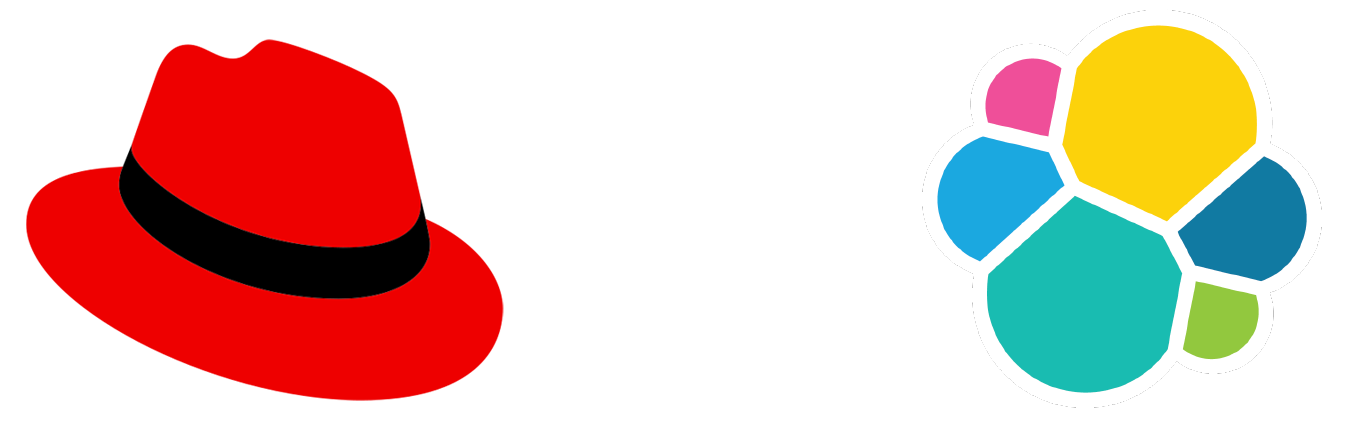 Red Hat and Elastic logos