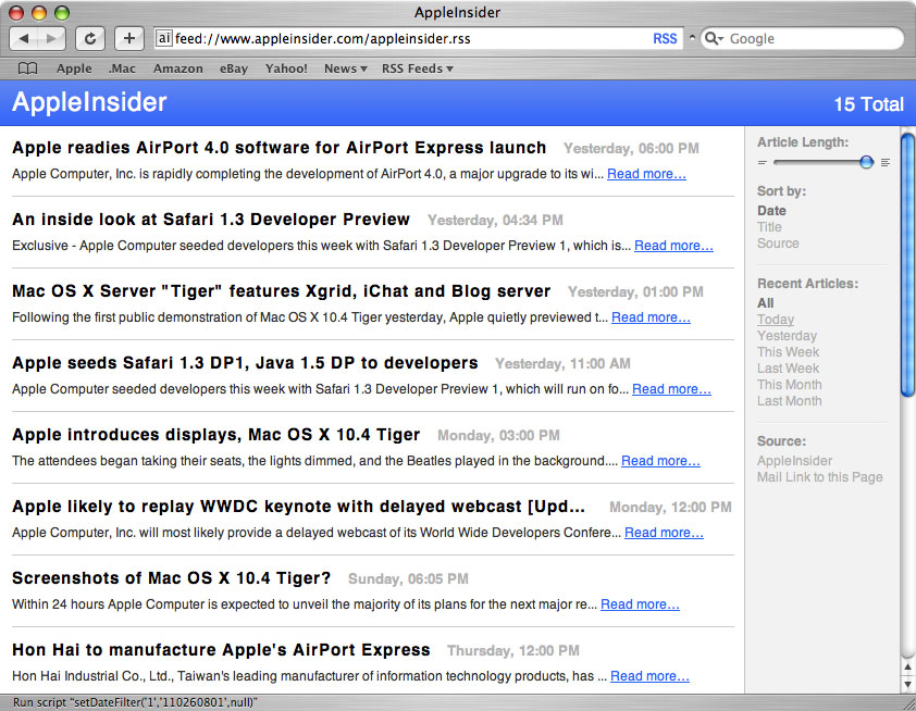 Safari 2 RSS Reader