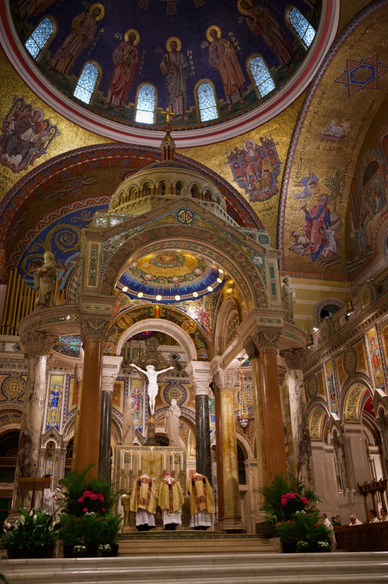 Sanctuary and priests at the Cathedral Basilica of St. Louis