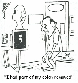 Semicolon cartoon - I had part of my colon removed - from Pinterest, source unknown