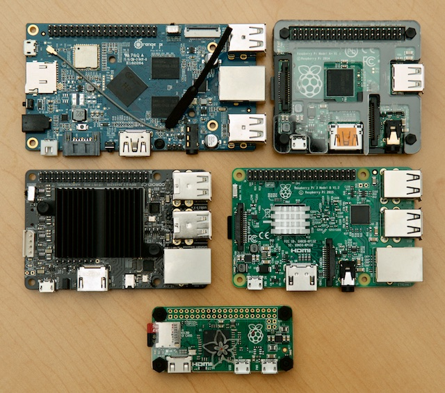 Single board computers - Orange Pi Plus, Raspberry Pi A+, 3 model B, Zero, ODROID-C2