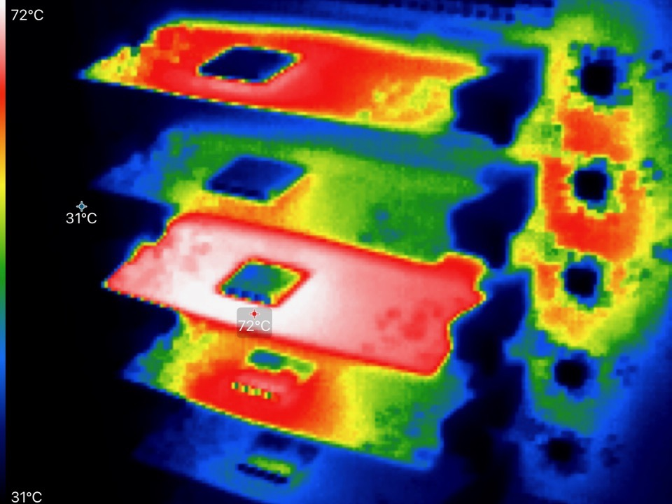 Thermal image of Compute Module inside Turing Pi cluster