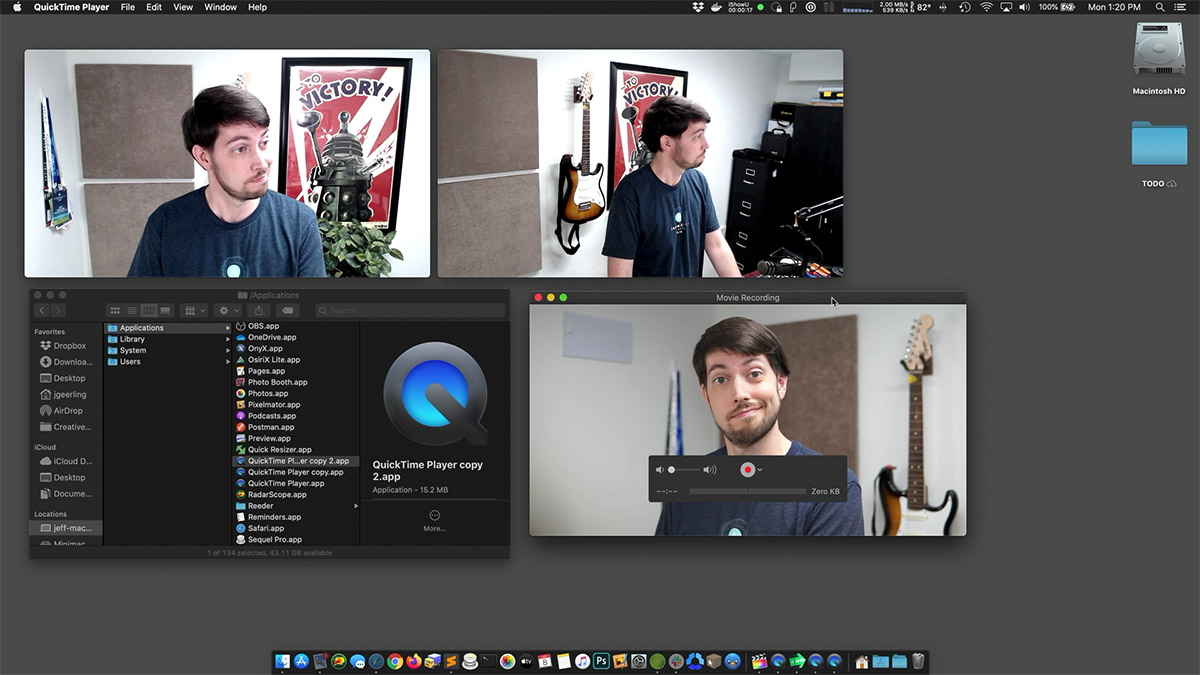 Recording three camera angles in QuickTime