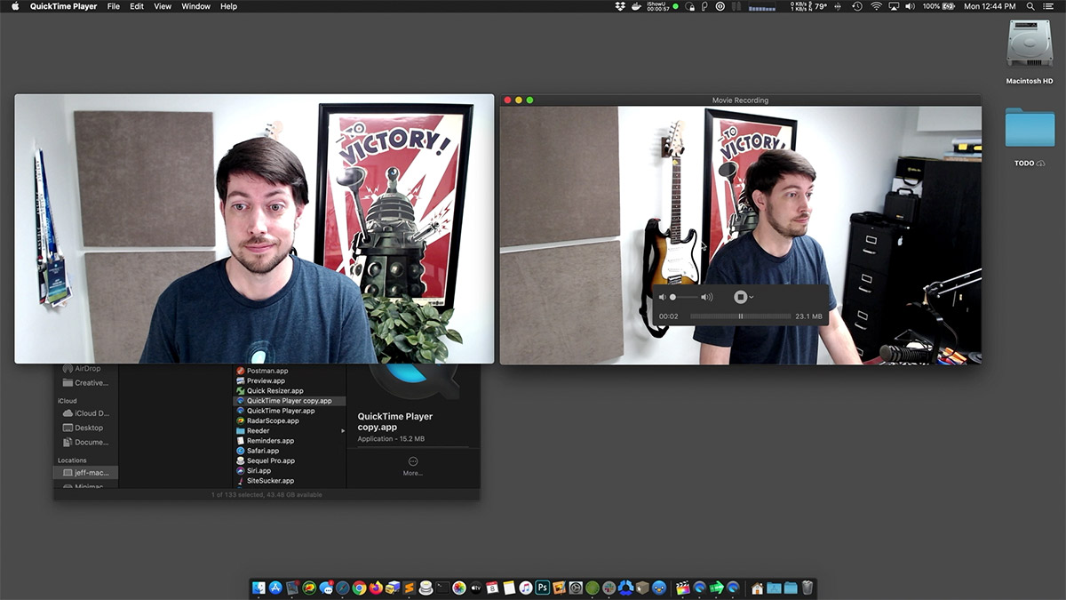 Recording two camera angles in QuickTime