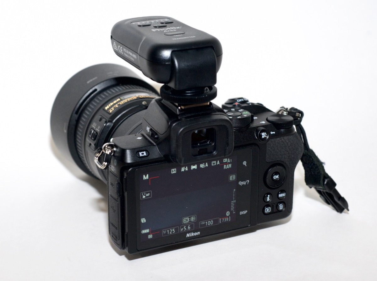 Z50 with Phottix remote flash trigger in hotshoe