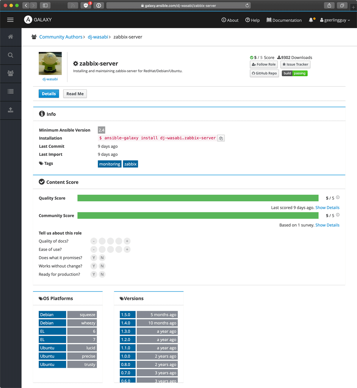 Ansible Galaxy Zabbix role details page