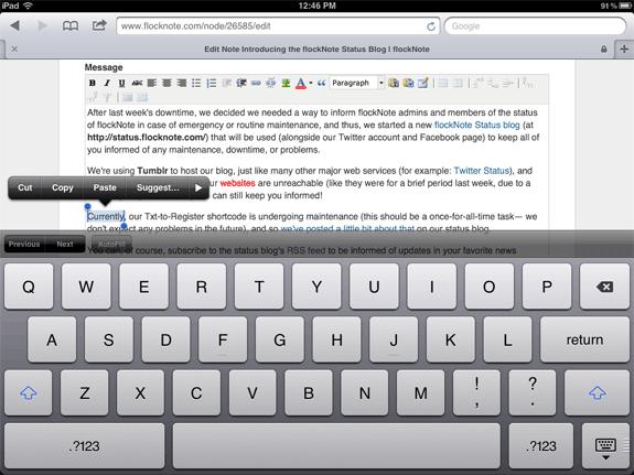 iPad 2 WYSIWYG TinyMCE Editing