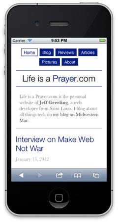 Life is a Prayer.com - Responsive Design (After)