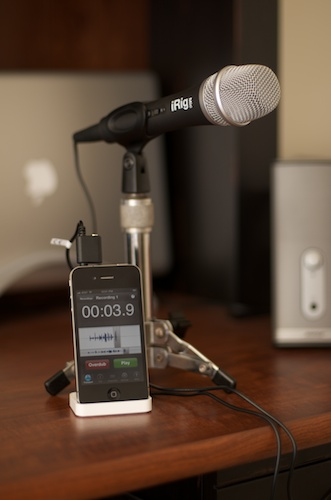 iRig mic with iPhone 4 recording on stand