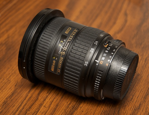 Nikon 18-35mm f/3.5-4.5 zoom lens - side with caps
