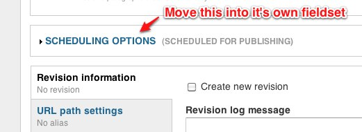 Scheduling options from Scheduler module