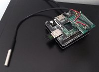 DS18B20 1-wire temperature sensor wired into Raspberry Pi A+